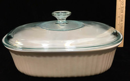 Casserole Dish French White Corning - Ware Stoneware Clear Glass Lid - $19.75