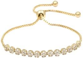 WeimanJewelry Luxury 18K Gold Plated CZ Flower Adjustable Bracelet With White - $27.26