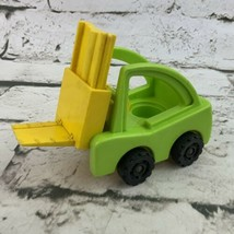 Vintage Fisher Price Little People Lift N Load Forklift Green Yellow - $13.86