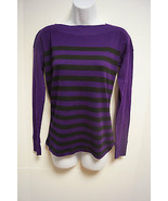 NWT RALPH LAUREN Womens Petite Sweater Top bateau neck Purple Black Stri... - $29.99