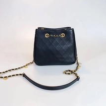 NEW AUTHENTIC CHANEL 2019 BLACK LEATHER DRAWSTRING BUCKET BAG GOLD HW RECEIPT  image 2
