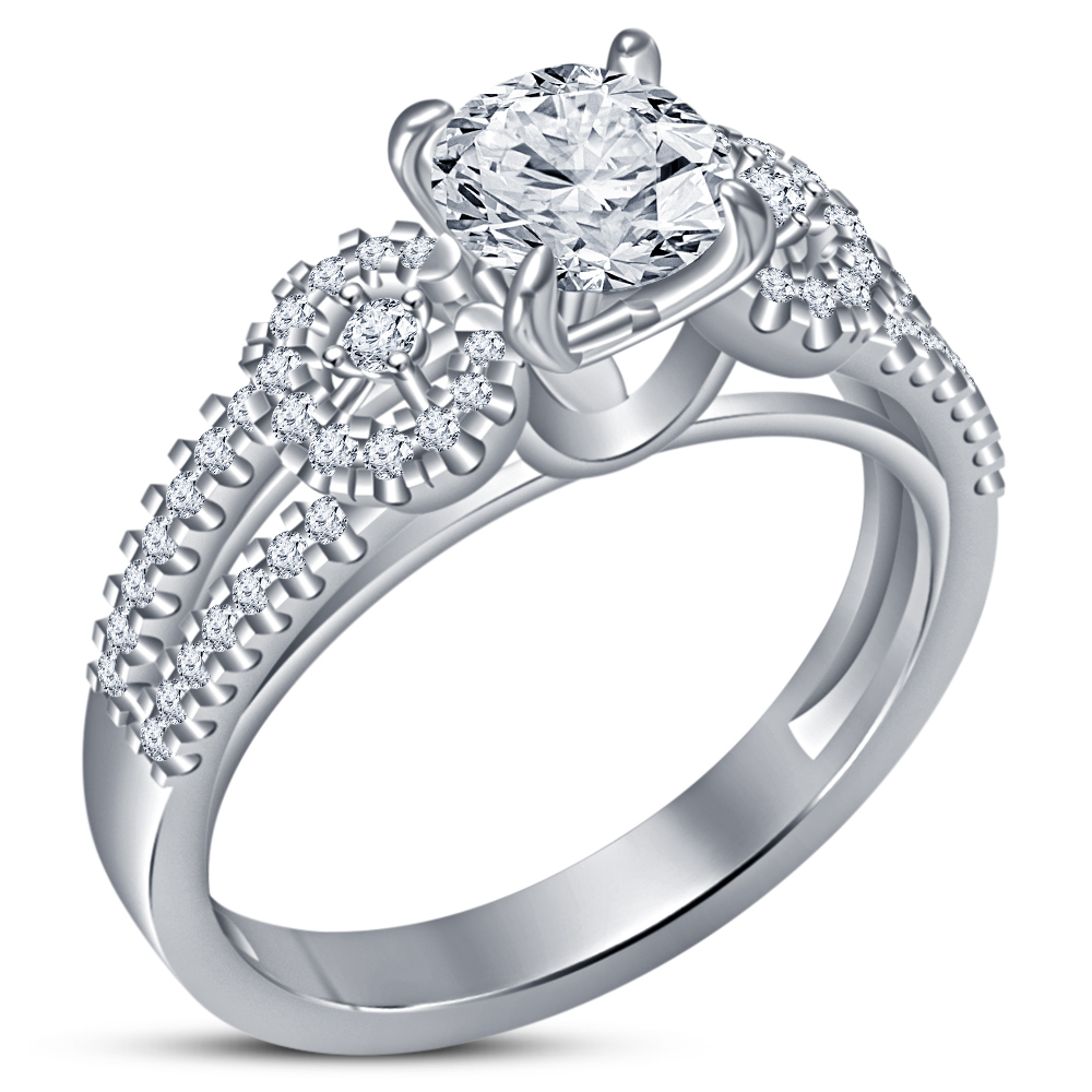 14k White Gold Plated 925 Sterling Silver Bridal Wedding Ring Set Round Cut CZ