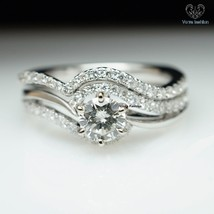 Promise Bridal Engagement Ring Set Round Cut CZ 14k White Gold Plated 925 Silver - $84.99