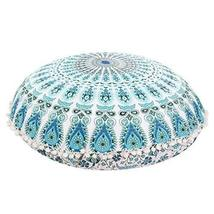 Traditional Jaipur Peacock Feather Mandala Floor Cushions, Decorative Th... - $19.79