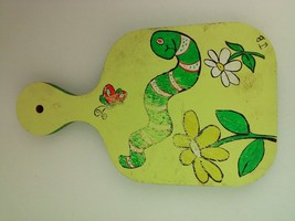 """Vintage Chopping Board 11.75"""" Painted with Flowers, Butterfly and Worm - $14.01"""