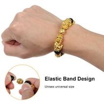 Ethnic Gold Six-Word Admonition Lucky Black Obsidian Feng Shui Pixiu Bracelet image 2