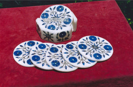 Beautiful Coffee Set Of Coasters Lapis Marquetry Inlay Home Accessories Gift Art - $259.93