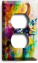 Colorful Lucky Feng Shui Elephant Abstract Art Outlet Wall Plate Room Home Decor - $8.99