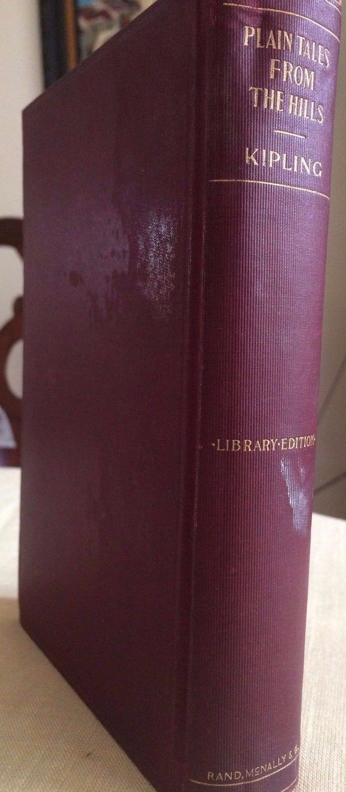"""""""PLAIN TALES FROM THE HILLS"""" BY RUDYARD KIPLING RED HARDCOVER ANTIQUE BOOK"""
