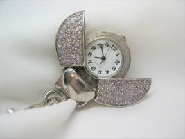 L64, HILTON, Ladies Novelty LADYBUG Watch, Hook On! Silver Tone w/ Cryst... - $15.87