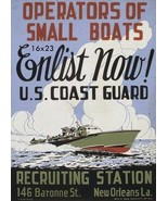 World War ii Operators of small boats enlist now! U.S. Coast Guard 16x23 Poster - £12.60 GBP