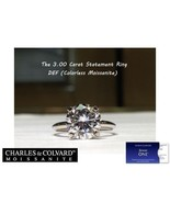 3.00 Carat Moissanite Forever One Solitaire Ring in 14K Gold (Charles&Co... - $1,695.00