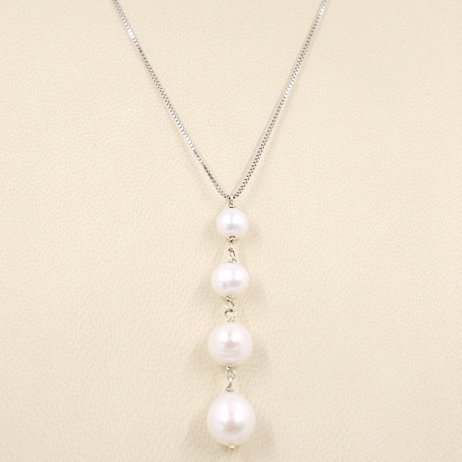 Necklace White Gold 18K, Pendant White Pearls, round and Drop, Chain Venetian