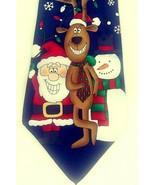 Hallmark Christmas Tie Santa Reindeer Snowman Black Snowflakes Graphic 1... - $24.14