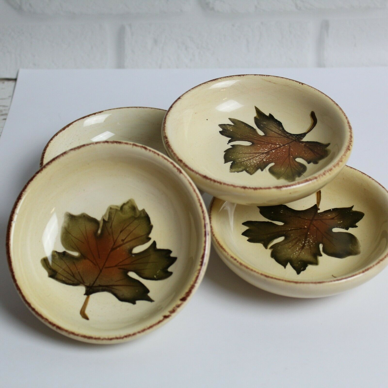 Primary image for Set of 4 Tabletops Unlimited Villa Grande Dipping Bowls Plates Fall Leaves 4""