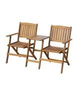 Outdoor Tea Table With Folding Bench Garden Wood Chair Seat Patio Acacia... - $140.13