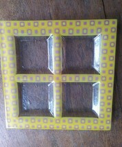 Glass Square Yellow Purple Party 4 Divided Serving Platter  - $5.99