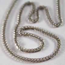SOLID 18K WHITE GOLD CHAIN NECKLACE WITH EAR LINK 23.62 INCHES, MADE IN ... - $468.35