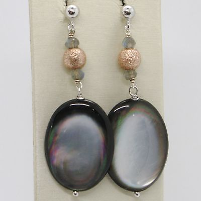 EARRINGS SILVER 925 TRIED AND TESTED HANGING WITH NACRE GREY AND PRASIOLITE