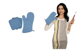 Blue Cotton Thick Quilted Cooking Kitchen Linens Pot Holder Gloves - $8.95