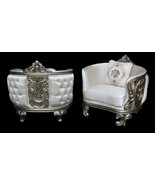 Pair French Louis XV Style Rococo Carved Accent Arm Silver Chairs - $2,470.05