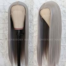 Lovestory Long Straight Synthetic Lace Front Wigs Heat Resistant Gray Wig Natura image 3