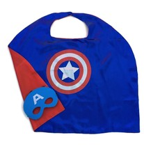 Capt Hero Child Cape and Mask Satin Lined Cape Blue with Silver and Red ... - $2.96