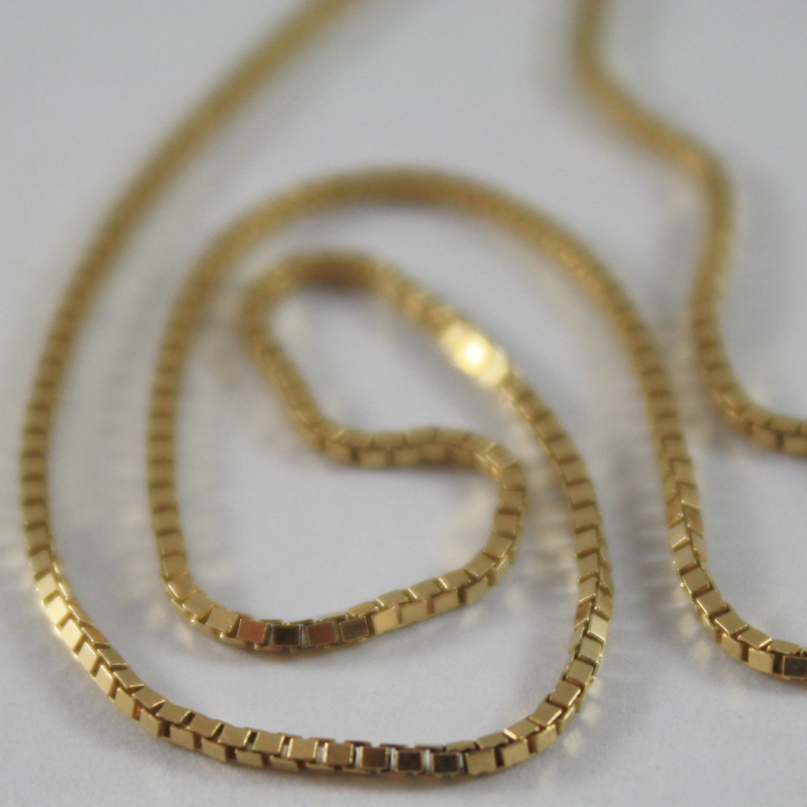 SOLID 18K YELLOW GOLD CHAIN NECKLACE WITH VENETIAN LINK 17.71 INCH MADE IN ITALY