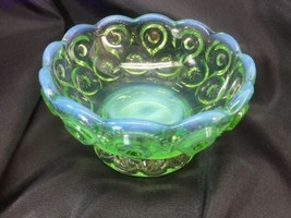 """LE Smith Moon And Stars Green Opalescent Compote Bowl Footed 4.5"""" Diameter - $24.74"""