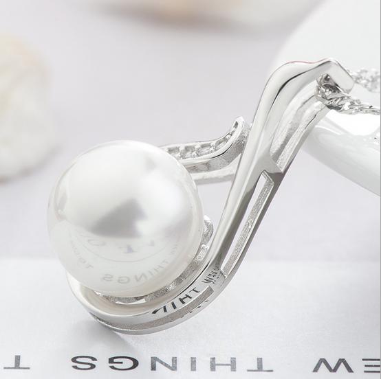 Fashion Women Sterling Silver Zircon Swan Pearl Pendant image 5