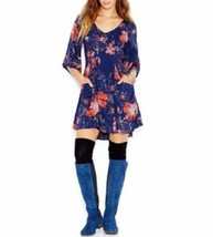 Free People Dress Sz 0 Navy Blue Combo Floral Print Rayon Baby Doll Tuni... - $68.17