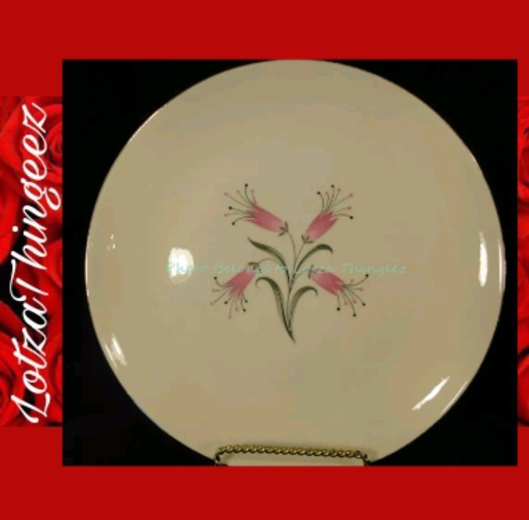 Homer Laughlin RY356 China Pink Flowers Gray Black Leaves 9 Dinner Plates