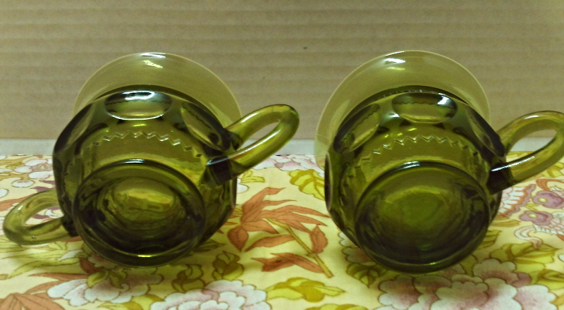 Vintage INDIANA GLASS Kings Crown Green Glass Sugar Bowl With Creamer Set