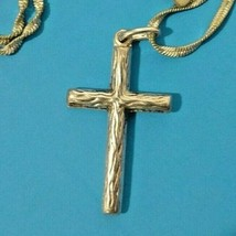 Vintage Silver Plate Cross Necklace Textured Wood Look Twisted Chain Fas... - $18.48