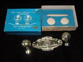 1964 New York World's Fair Salt & Pepper Shakers With Tray w box set 1 - $28.99