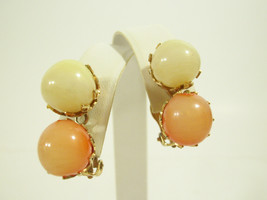 Vintage Signed VOGUE Earrings Peach Lemon Glass Balls Gold Plated Clip o... - $15.83
