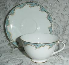 ROYAL DOULTON MALBOROUGH LIGHT BLUE COFFEE CUP SAUCER S H4988 GOLD BONE ... - $13.45
