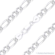 6.8mm Figaro Link Chain Diamond-Cut Pave Necklace in .925 Italy Sterling... - $66.91+