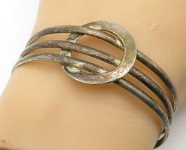 925 Sterling Silver - Vintage Dark Tone Circle Detail Cuff Bracelet - B6173 - $50.86