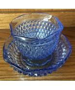 Indiana Glass Diamond Point Blue Vintage Bowls Set of 2 - $15.99