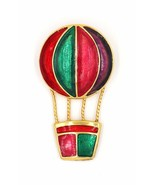 Christmas Holiday Colors Enameled Hot Air Balloon Figural Gold Plated Br... - $17.80