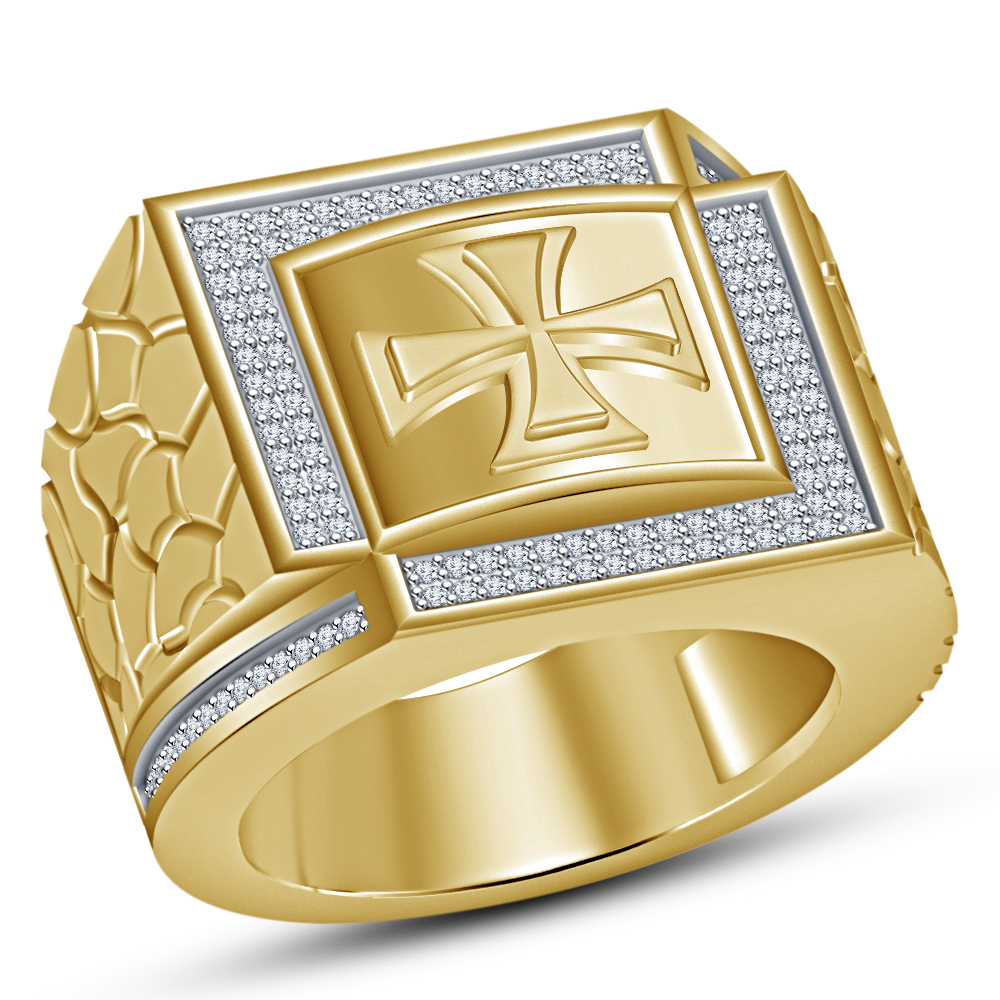 Yellow Gold Plated 925 Silver Round Cut White CZ Men's Band Religion Cross Ring