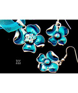 Blue Curly Flower Earrings and Necklace Set  - $12.50