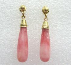 beautiful lady's colorful pink jade dangle earrings free shipping - $9.99