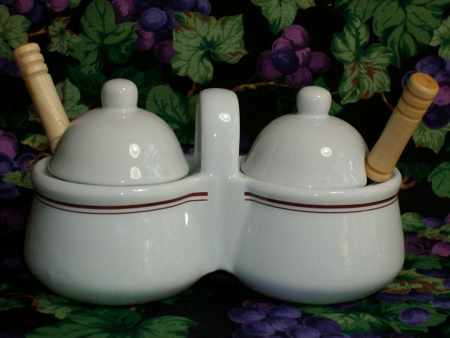Ceramic Double-Sided Jelly Jar with Lids + Spoons - Brand New!
