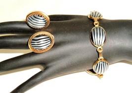 Vtg 1960'S Set Striped Black White glass CABOCHON Bracelet with Clip Ear... - $79.15