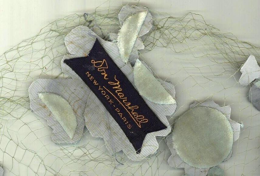 vintage ladies hairnet hat Don Marshall NY 1950 milliner aqua new look