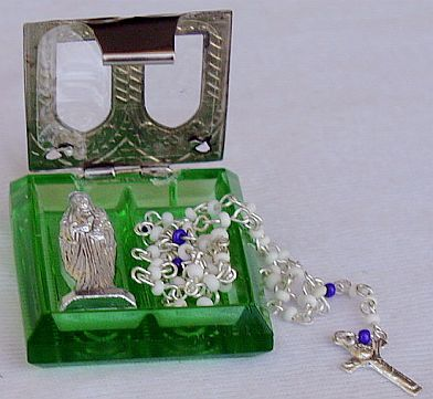 Olive green mini Rosary box