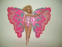 Mattel Barbie Flower N Flutter Fairy Doll Pink Butterfly Wings Blonde Fa... - $19.79