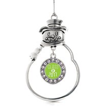 Inspired Silver Lime Green Class of 2017 Circle Snowman Holiday Christma... - $14.69
